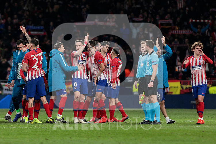 Atletico de Madrid's players celebrate the victory during UEFA Champions League match, Round of 16, 1st leg between Atletico de Madrid and Juventus at Wanda Metropolitano Stadium in Madrid, Spain. February 20, 2019. (ALTERPHOTOS/A. Perez Meca)