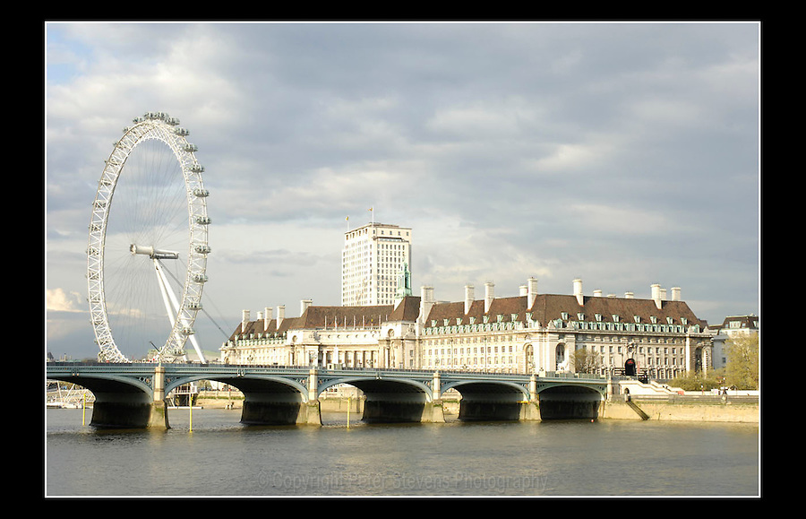 The London Eye - Westminster Bridge - County Hall - Taken from the terrace of the House of Lords  - 19th April 2005