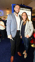 """Pictured: Rugby player Ryan Jones with wife Ailsa. Sunday 14 September 2014<br /> Re: Film premiere of """"Jack To A King"""" depicting the recent history pf Swansea City Football Club, at the Odeon Cinema, Swansea, south Wales, UK."""