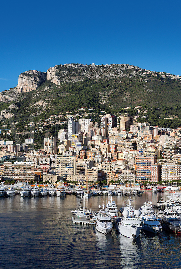 View of Fontvieille and harbor yachts, Monaco