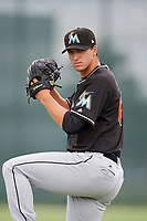 GCL Marlins pitcher Colton Hock (63) poses for a photo after the second game of a doubleheader against the GCL Nationals on July 23, 2017 at Roger Dean Stadium Complex in Jupiter, Florida.  GCL Nationals defeated the GCL Marlins 1-0.  (Mike Janes/Four Seam Images)
