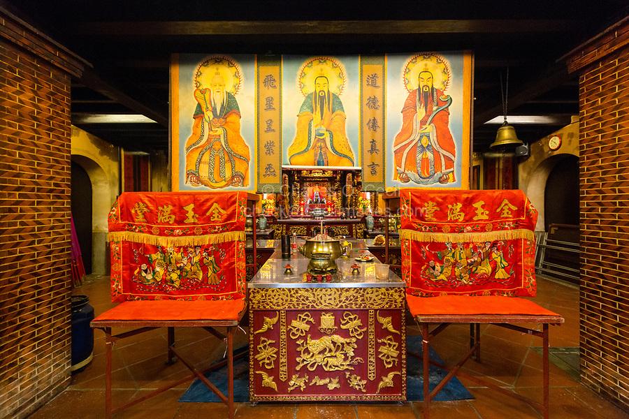 George Town, Penang, Malaysia.  Altar Honoring Chinese Deities, Tua Pek Kong Temple, aka Hock Teik Cheng Sin Temple, a Taoist Temple.