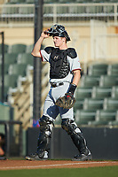 Hickory Crawdads catcher Sam Huff (38) on defense against the Kannapolis Intimidators at Kannapolis Intimidators Stadium on May 2, 2018 in Kannapolis, North Carolina.  The Intimidators defeated the Crawdads 9-6.  (Brian Westerholt/Four Seam Images)