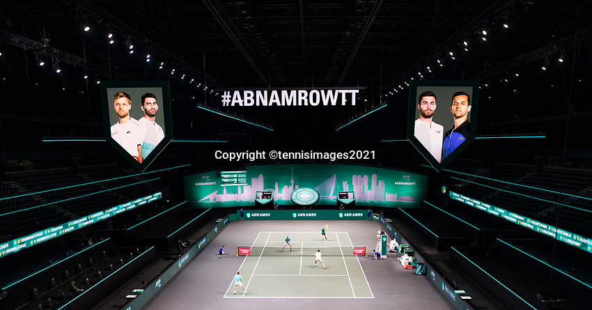 Rotterdam, The Netherlands,7 march  2021, ABNAMRO World Tennis Tournament, Ahoy,  <br /> Doubles Finals overview: Kevin Krawietz (GER) / Horia Tecau (ROU) vs. Nikola Mektic (CRO) / Mate Pavic (CRO).<br /> <br /> Photo: www.tennisimages.com/henkkoster