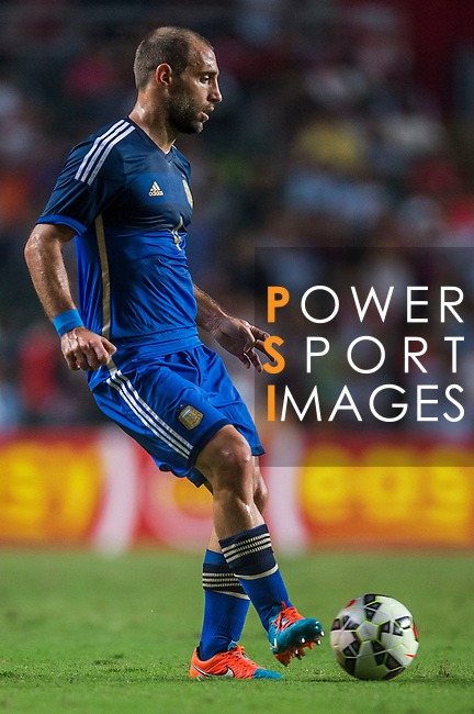 Pablo Zabaleta of Argentina in action during the HKFA Centennial Celebration Match between Hong Kong vs Argentina at the Hong Kong Stadium on 14th October 2014 in Hong Kong, China. Photo by Aitor Alcalde / Power Sport Images