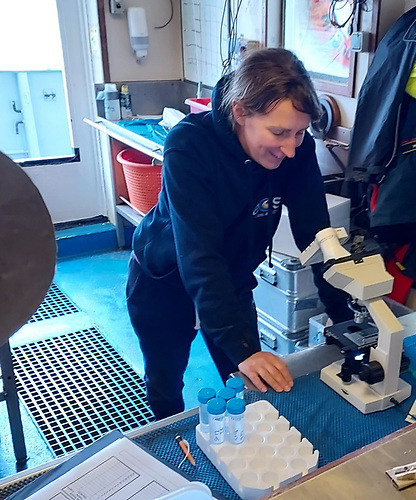 Sheena Fennell of NUI Galway using the HABscope on the RV Celtic Voyager research ship