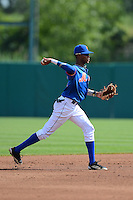 Ti'quan Forbes (3) of Columbia High School in Columbia, Mississippi playing for the New York Mets scout team during the East Coast Pro Showcase on July 31, 2013 at NBT Bank Stadium in Syracuse, New York.  (Mike Janes/Four Seam Images)