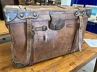 BNPS.co.uk (01202 558833)<br /> Pic: H.Aldridge&Sons/BNPS<br /> <br /> Oates's Haul<br /> <br />  A vintage travel trunk that belonged to tragic British explorer Captain Lawrence Oates is being sold 109 years after his death.<br /> <br /> The battered leather case was used by Capt Oates when he fought heroically for the British Army in the Boer War. <br /> <br /> He also had the 28ins by 16ins by 18ins trunk with him when he served in Ireland, Egypt and India, before he joined Capt Robert Falcon Scott's doomed expedition to Antarctica in 1910.