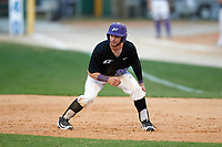 Niagara University Purple Eagles Julian Gallup (20) leads off first base during a game against the Ohio State Buckeyes on February 20, 2016 at Holman Stadium at Historic Dodgertown in Vero Beach, Florida.  Ohio State defeated Niagara 10-7.  (Mike Janes/Four Seam Images)