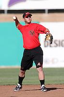 Garrett Weber #7 of the Visalia Rawhide before a game against the High Desert Mavericks at Stater Bros. Stadium on May 15, 2012 in Adelanto,California. (Larry Goren/Four Seam Images)