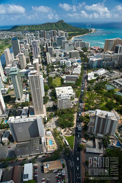 Aerial view of Waikiki and Diamond Head looking down Kalakaua Ave and Kuhio Ave
