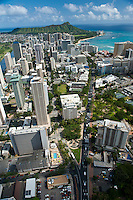 Aerial view of Waikiki and Diamond Head looking down Kalakaua Ave and Kuhio Ave