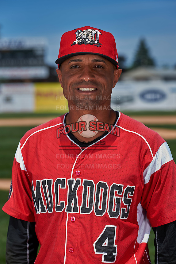 Batavia Muckdogs manager Angel Espada (4) poses for a photo before the teams first practice on June 15, 2016 at Dwyer Stadium in Batavia, New York.  (Mike Janes/Four Seam Images)