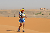 4th October 2021; Tisserdimine to Kourci Dial Zaid;  Marathon des Sables, stage 2 of  a six-day, 251 km ultramarathon, which is approximately the distance of six regular marathons. The longest single stage is 91 km long. This multiday race is held every year in southern Morocco, in the Sahara Desert. Aziza Raji (MOR)