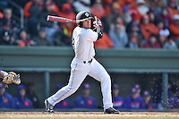 South Carolina shortstop Marcus Mooney (8) swings at a pitch during a game against the Clemson Tigers at Fluor Field February 28, 2015 in Greenville, South Carolina. The Gamecocks defeated the Tigers 4-1. (Tony Farlow/Four Seam Images)