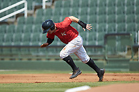 Ian Dawkins (8) of the Kannapolis Intimidators takes off for second base during the game against the Delmarva Shorebirds at Kannapolis Intimidators Stadium on May 19, 2019 in Kannapolis, North Carolina. The Shorebirds defeated the Intimidators 9-3. (Brian Westerholt/Four Seam Images)