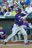 TCU Horned Frogs second baseman Garrett Crain (34) at bat against the Vanderbilt Commodores in Game 12 of the NCAA College World Series on June 19, 2015 at TD Ameritrade Park in Omaha, Nebraska. The Commodores defeated TCU 7-1. (Andrew Woolley/Four Seam Images)