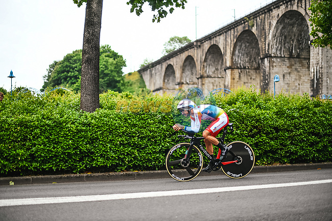TotalEnergies rider in action during Stage 5 of the 2021 Tour de France, an individual time trial running 27.2km from Change to Laval, France. 30th June 2021.  <br /> Picture: A.S.O./Charly Lopez | Cyclefile<br /> <br /> All photos usage must carry mandatory copyright credit (© Cyclefile | A.S.O./Charly Lopez)