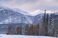 Snow covered mountains in the foothills of the Brooks Range, Wiseman, Alaska