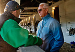 LOUISVILLE, KY - APRIL 30: Trainer Todd Pletcher talks with WinStar Farm's Eliott Walden after morning workouts  at Churchill Downs on April 30, 2018 in Louisville, Kentucky. (Photo by Scott Serio/Eclipse Sportswire/Getty Images)