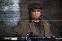 """Jerry Dammers (British musician who is a founder, keyboard player and primary songwriter of the Coventry, England based ska revival band The Specials, The Special A.K.A. and The Spatial AKA Orchestra).<br /> <br /> London, 22/03/2014. """"Stand Up To Racism & fascism - No to Scapegoating Immigrants, No to Islamophobia, Yes to Diversity"""", national demo marking UN Anti-Racism Day organised by TUC (Trade Union Congress) and UAF (Unite Against Fascism).<br /> <br /> For more information please click here: http://www.standuptoracism.org.uk/"""
