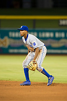 AZL Royals second baseman Tyler James (14) on defense against the AZL Mariners on July 29, 2017 at Peoria Stadium in Peoria, Arizona. AZL Royals defeated the AZL Mariners 11-4. (Zachary Lucy/Four Seam Images)