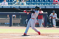 Scottsdale Scorpions second baseman Shed Long (6), of the Cincinnati Reds organization, follows through on his swing during an Arizona Fall League game against the Peoria Javelinas at Peoria Sports Complex on October 18, 2018 in Peoria, Arizona. Scottsdale defeated Peoria 8-0. (Zachary Lucy/Four Seam Images)
