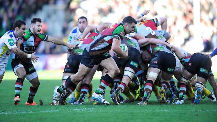 Nick Easter of Harlequins breaks from the base of the scrum during the Heineken Cup Round 5 match between Harlequins and ASM Clermont Auvergne at the Twickenham Stoop on Saturday 11th January 2014 (Photo by Rob Munro)