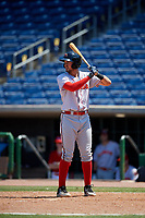 Florida Fire Frogs Drew Lugbauer (17) during a Florida State League game against the Clearwater Threshers on April 24, 2019 at Spectrum Field in Clearwater, Florida.  Clearwater defeated Florida 13-1.  (Mike Janes/Four Seam Images)
