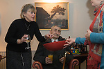 """Bill Richardson (91 yrs) leads a group of Wassailers who travel around the village of Currey Rivel on old New Years Eve January 5th singing a traditional wassailing song and bidding the house holders """"... a happy New Year"""" before being invited in for refreshment. Somerset UK. 2016"""