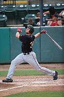 Cal Raleigh (35) of the Modesto Nuts bats against the Visalia Rawhide at Recreation Ballpark on June 10, 2019 in Visalia, California. (Larry Goren/Four Seam Images)