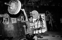 Republic of Nauru. Central Pacific. Nauru is a tiny island (21 square-km). A woman from the Nauru weightlifting team during her daily training practise. © 1999 Didier Ruef