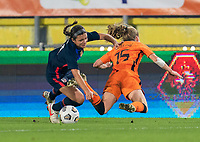 BREDA, NETHERLANDS - NOVEMBER 27: Sophia Smith #11 of the USWNT collides with Lynn Wilms of the Netherlands during a game between Netherlands and USWNT at Rat Verlegh Stadion on November 27, 2020 in Breda, Netherlands.