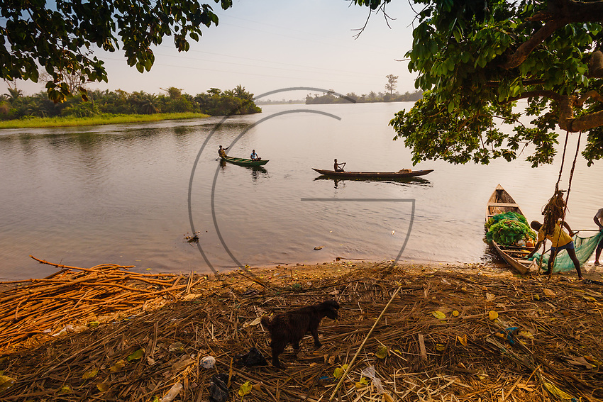 Africa, Ghana,fishing in the river