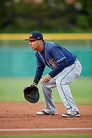Toledo Mud Hens first baseman Efren Navarro (17) during a game against the Indianapolis Indians on May 2, 2017 at Victory Field in Indianapolis, Indiana.  Indianapolis defeated Toledo 9-2.  (Mike Janes/Four Seam Images)
