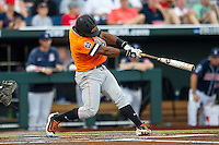 Oklahoma State Cowboys second baseman J.R. Davis (2) swings the bat against the Arizona Wildcats during Game 6 of the NCAA College World Series on June 20, 2016 at TD Ameritrade Park in Omaha, Nebraska. Oklahoma State defeated Arizona 1-0. (Andrew Woolley/Four Seam Images)