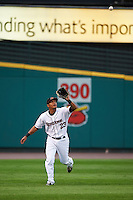 Rochester Red Wings outfielder Reynaldo Rodriguez (23) catches a fly ball during a game against the Lehigh Valley IronPigs on May 15, 2015 at Frontier Field in Rochester, New York.  Rochester defeated Lehigh Valley 5-4.  (Mike Janes/Four Seam Images)