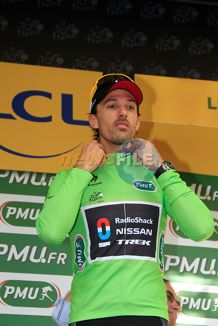 Fabian Cancellara (SUI) Radioshack-Nissan wins by 7 seconds and also wears the first points Green Jersey at the end of the Prologue of the 99th edition of the Tour de France 2012, a 6.4km individual time trial starting in Parc d'Avroy, Liege, Belgium. 30th June 2012.<br /> (Photo by Eoin Clarke/NEWSFILE)