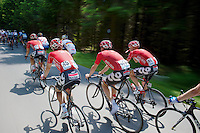 Lotto-Belisol riders pedalling in the back of the peloton<br /> <br /> Ster ZLM Tour 2014<br /> stage 4: Hotel Verviers - La Gileppe (187km)