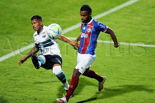 16th November 2020; Couto Pereira Stadium, Curitiba, Brazil; Brazilian Serie A, Coritiba versus Bahia; Mailton of Coritiba clears the ball past Élber of Bahia