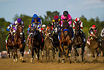 SARATOGA SPRINGS, NY - AUGUST 26: West Coast #3, with Mike Smith leads the field past the wire for the first time at the Travers Stakes at Saratoga Race Course on August 26, 2017 in Saratoga Springs, New York. Following West Coast is Always Dreaming (Derby winner) Cloud Computing (Preakness winner) and Tapwrit (Belmont winner)(Photo by Alex Evers/Eclipse Sportswire/Getty Images)