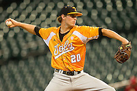 Starting pitcher Drew Steckenrider #20 of the Tennessee Volunteers in action against the Houston Cougars at Minute Maid Park on March 2, 2012 in Houston, Texas.  The Cougars defeated the Volunteers 7-4.  Brian Westerholt / Four Seam Images