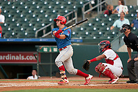 Clearwater Threshers Nick Matera (7) bats during a Florida State League game against the Palm Beach Cardinals on August 9, 2019 at Roger Dean Chevrolet Stadium in Jupiter, Florida.  Palm Beach defeated Clearwater 3-0 in the second game of a doubleheader.  (Mike Janes/Four Seam Images)