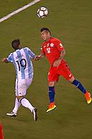 Action photo during the match Argentina vs Chile corresponding to the Final of America Cup Centenary 2016, at MetLife Stadium.<br /> <br /> Foto durante al partido Argentina vs Chile cprresponidente a la Final de la Copa America Centenario USA 2016 en el Estadio MetLife , en la foto:(i-d) Gary Medel de Chile y Ever Banega de Argentina<br /> <br /> <br /> 26/06/2016/MEXSPORT/JAVIER RAMIREZ