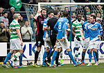 St Johnstone v Celtic…05.02.17     SPFL    McDiarmid Park<br />Zander Clark leads the St Johnstone protests at referee Craig Thomson after he awarded Celtic a penalty<br />Picture by Graeme Hart.<br />Copyright Perthshire Picture Agency<br />Tel: 01738 623350  Mobile: 07990 594431