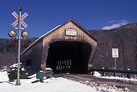 covered bridge, Vermont, VT, Bartonsville Covered Bridge ca. 1870 in Bartonsville in the snow in winter.