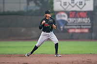 Great Falls Voyagers shortstop Travis Moniot (16) prepares to make a throw to first base during a Pioneer League against the Ogden Raptors at Lindquist Field on August 23, 2018 in Ogden, Utah. The Ogden Raptors defeated the Great Falls Voyagers by a score of 8-7. (Zachary Lucy/Four Seam Images)