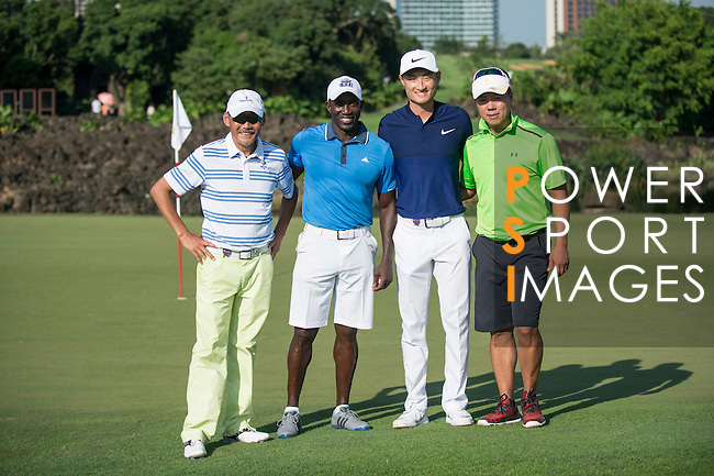 (L-R) He Ping, Dwight Yorke, Li Haotong, Zhao Hongbo during the World Celebrity Pro-Am 2016 Mission Hills China Golf Tournament on 22 October 2016, in Haikou, China. Photo by Marcio Machado / Power Sport Images
