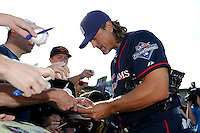 Former San Diego Padres closer Trevor Hoffman #51 signs autographs for fans before the MLB Pepsi Max Field of Dreams game on May 18, 2013 at Frontier Field in Rochester, New York.  (Mike Janes/Four Seam Images)
