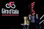 Richard Carapaz, Peter Sagan and Urbano Cairo on stage at the route presentation for the 103rd edition of the Giro d'Italia 2020 held in the RAI Studios, Milan, Italy. <br /> 24th October 2019.<br /> Picture: LaPresse/Marco Alpozzi   Cyclefile<br /> <br /> All photos usage must carry mandatory copyright credit (© Cyclefile   LaPresse/Marco Alpozzi)